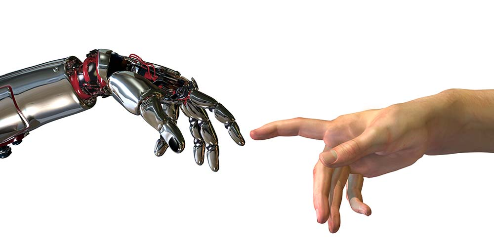 Robot hand extending to touch human hand